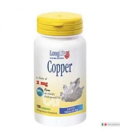 Longlife Copper 2mg favorisce il metabolismo energetico 100 compresse